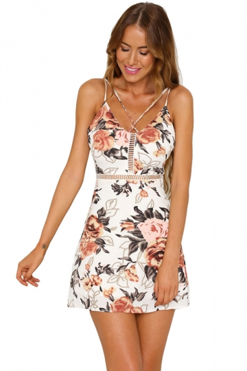 Womens Straps Hollow Out Open Back Floral Skater Dress Beige White