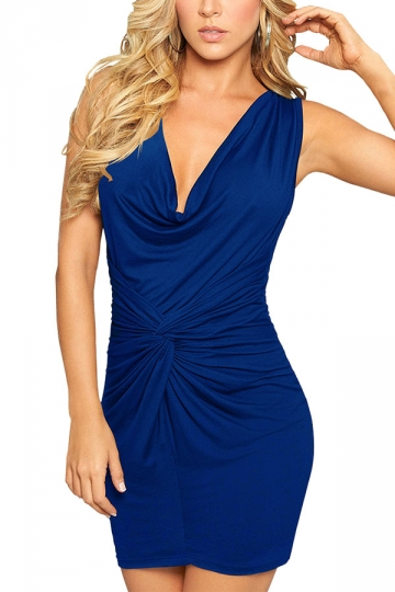 Womens Plain V-Neck Slimming Pleated Bodycon Dress Blue