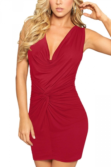 Womens Plain V-Neck Slimming Pleated Bodycon Dress Red