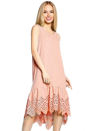Womens Fashion Sleeveless Cut Out Back Smock Dress Pink