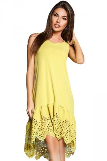 Womens Fashion Sleeveless Cut Out Back Smock Dress Yellow