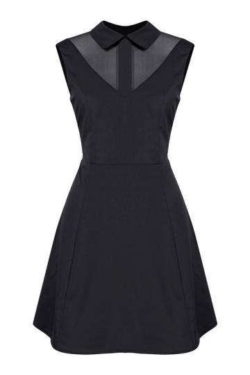 Womens Turndown Collar Mesh Patchwork Zipper Skater Dress Black