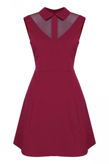 Womens Turndown Collar Mesh Patchwork Zipper Skater Dress Ruby