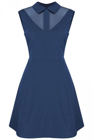 Womens Turndown Collar Mesh Patchwork Zipper Skater Dress Navy Blue