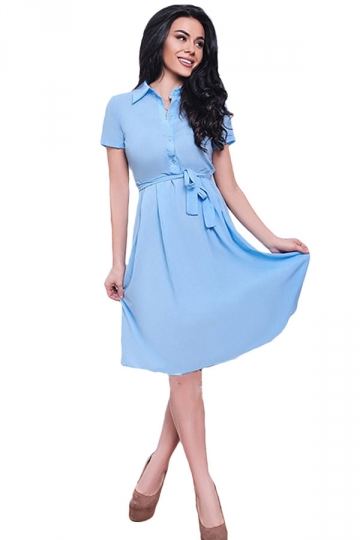 Womens Turndown Collar Short Sleeve Bottom Chiffon Skater Dress Blue