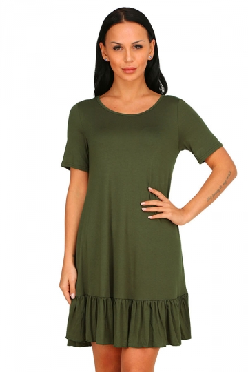 Womens Fashion Ruffled Hem Short Sleeve Smock Dress Army Green