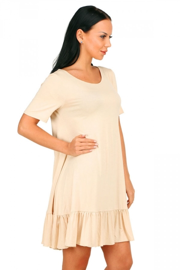 Womens Fashion Ruffled Hem Short Sleeve Smock Dress Apricot