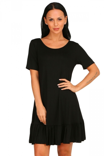 Womens Fashion Ruffled Hem Short Sleeve Smock Dress Black