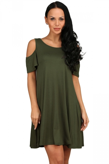 Womens Cold Shoulder Seam Pocket Crew Neck Smock Dress Army Green