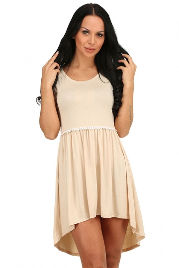 Womens Fashion High Low Pleated Sleeveless Skater Dress Apricot