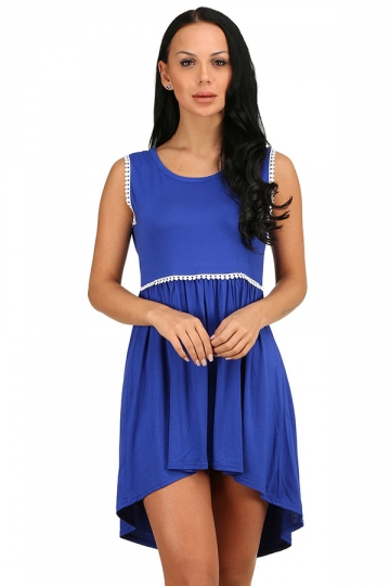 Womens Fashion High Low Pleated Sleeveless Skater Dress Blue
