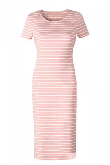 Womens Sexy Casual Stripes Short Sleeve Side Slit Shirt Dress Pink