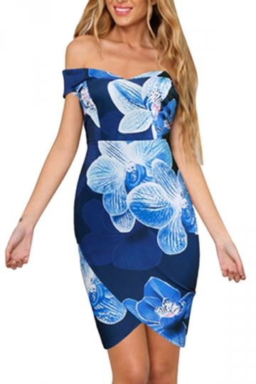 Womens Sexy Off Shoulder High Low Floral Printed Dress Blue