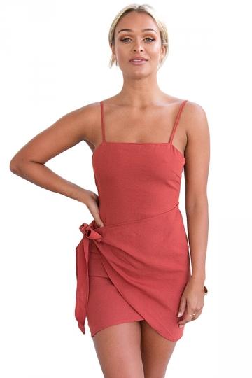 Womens Sexy Straps Bandage Bow Open Back Peplum Dress Watermelon Red