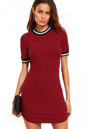 Womens Slimming Short Sleeve Stripe Bodycon Dress Ruby