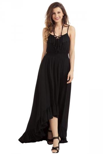 Womens Lace Up V Neck Ruffle Trim Hi-Low Maxi Dress Black