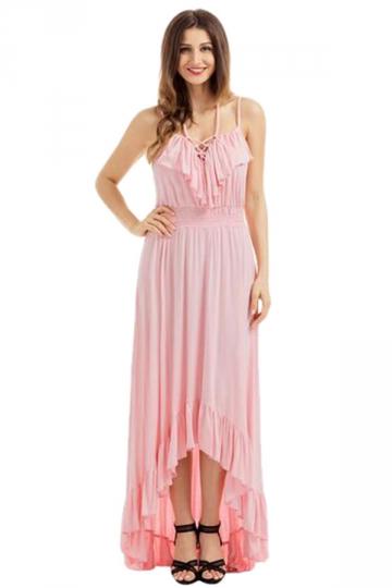 Womens Lace Up V Neck Ruffle Trim Hi-Low Maxi Dress Pink