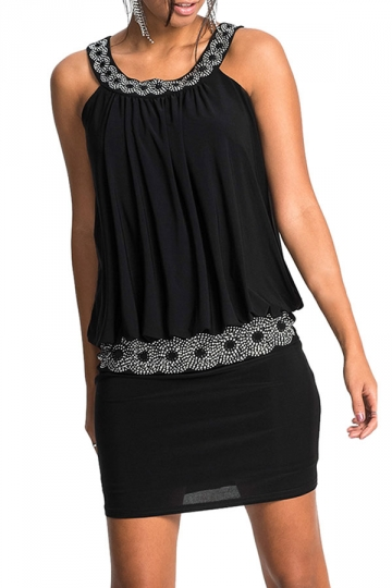 Women Elegant Halter Beaded Slimming Sleeveless Dress Black