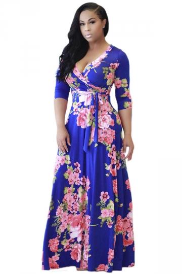 Womens 3/4 Sleeve Wrap Floral Print Tie Waist Maxi Dress Blue