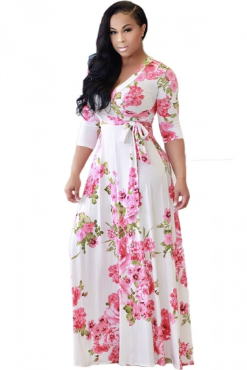Womens 3/4 Sleeve Wrap Floral Print Tie Waist Maxi Dress White