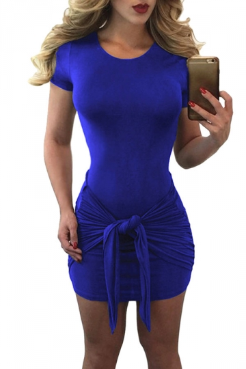 Womens Sexy Short Sleeve Bandage Bodycon Dress Sapphire Blue