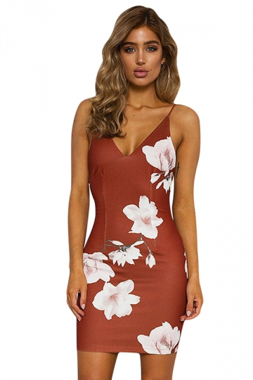 Womens Sexy Backless Floral Printed Lace Up Clubwear Dress Orange Red
