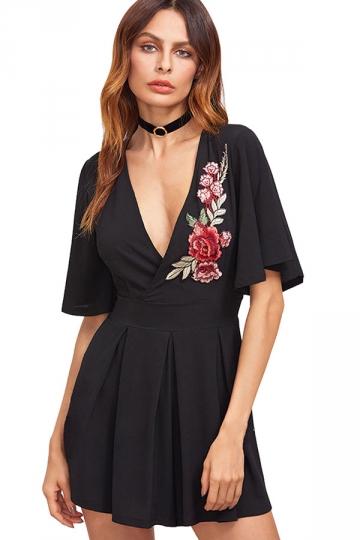 Womens Sexy Deep V-Neck Floral Embroidered Skater Dress Black