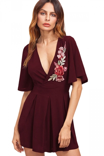 Womens Sexy Deep V-Neck Floral Embroidered Skater Dress Ruby