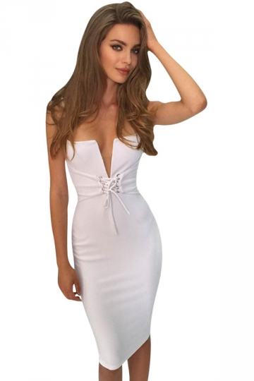 Womens Sexy Straps Deep V-Neck Cross Strings Clubwear Dress White