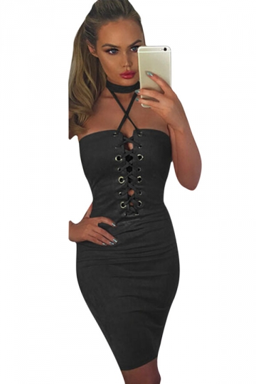 Womens Sexy Crisscross Lace-Up Slimming Club Wear Dress Black