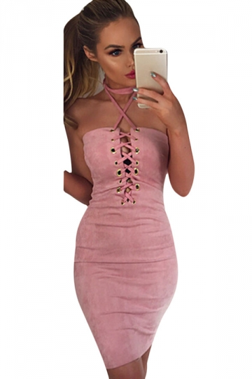 Womens Sexy Crisscross Lace-Up Slimming Club Wear Dress Pink