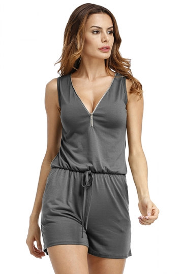 Womens V Neck Draw String Zipper Sleeveless Romper Gray