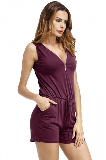 Womens V Neck Draw String Zipper Sleeveless Romper Ruby