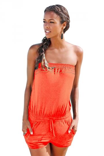 Womens Sexy Strapless Wave Strips Draw String Romper Orange