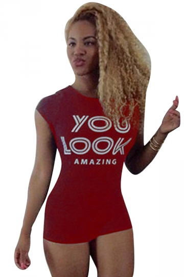 Womens Sexy High Waist Open Back Letters Printed Romper Red