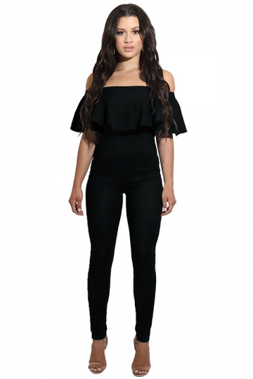 Womens Sexy Ruffle Off Shoulder High Waist Jumpsuit Black