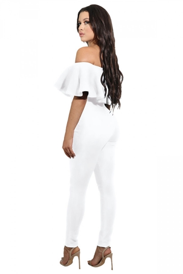 Womens Sexy Ruffle Off Shoulder High Waist Jumpsuit White