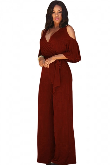 Womens Sexy Cold Shoulder V-Neck Draping Bandage Jumpsuit Ruby