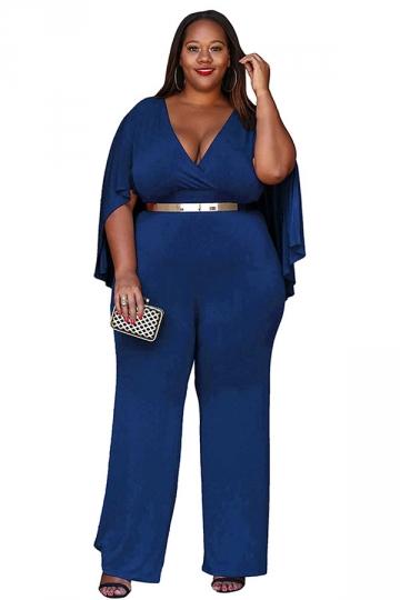 Womens Sexy Plus Size Deep V-Neck High Waist Jumpsuit Sapphire Blue