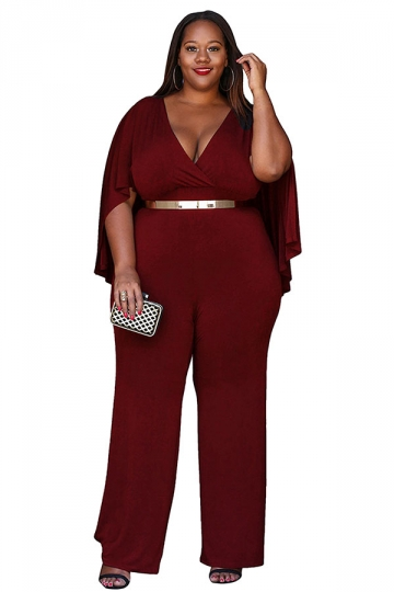 Womens Sexy Plus Size Deep V-Neck High Waist Jumpsuit Ruby