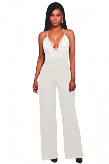 Womens Halter Lace Patchwork Deep V-Neck Wide Legs Jumpsuit White