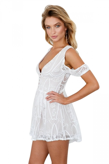 Womens Sexy Deep V-Neck Cold Shoulder Lace-Up Open Back Romper White
