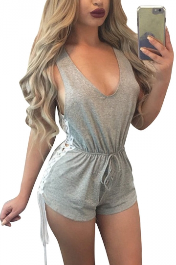 Womens Sexy Draw String Side Lace-Up High Waist Romper Gray