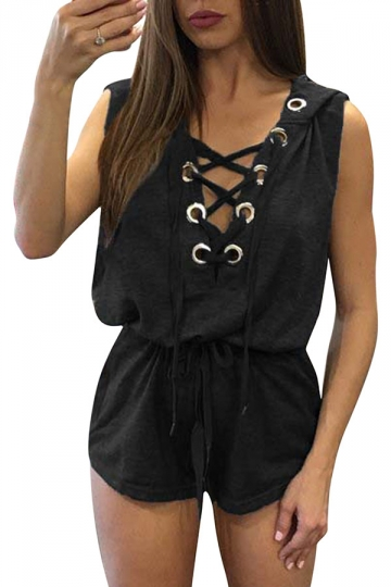 Womens Sexy V-Neck Lace-Up Hoodied Draw String Romper Black