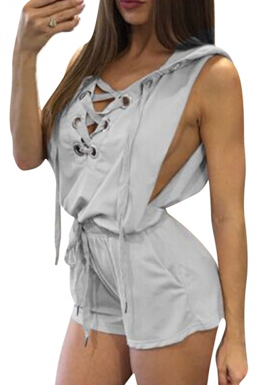 Womens Sexy V-Neck Lace-Up Hoodied Draw String Romper Gray