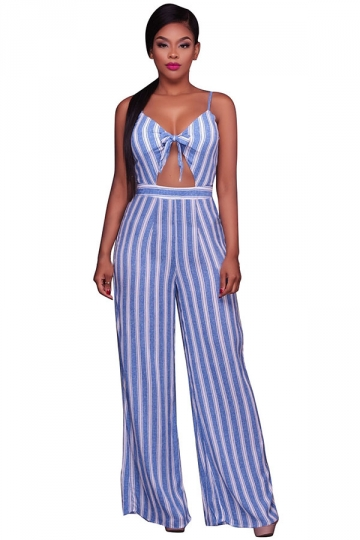Womens Straps Stripe Printed High Waist Wide Legs Jumpsuit Light Blue