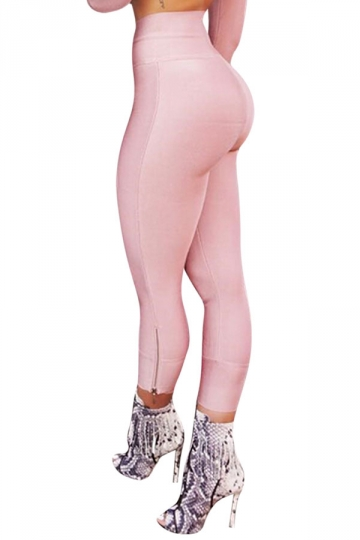 Womens Sexy Close-Fitting Zipper High Waist Leggings Pink