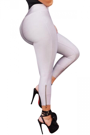 Womens Sexy Close-Fitting Zipper High Waist Leggings White