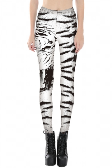 Womens Slimming Zebra Stripe Printed Cropped Leggings White
