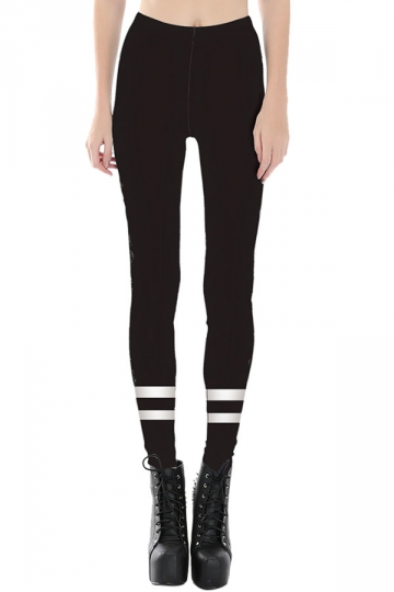 Womens Slimming White Cross Stripe Printed Cropped Leggings Black